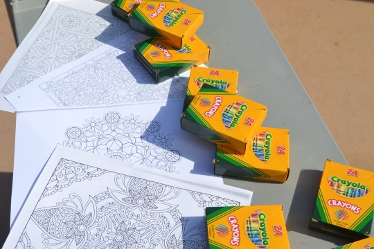 crayons and coloring book pages